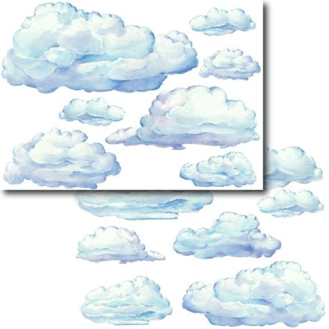 cloud wall mural large set clouds peel and stick wall stickers