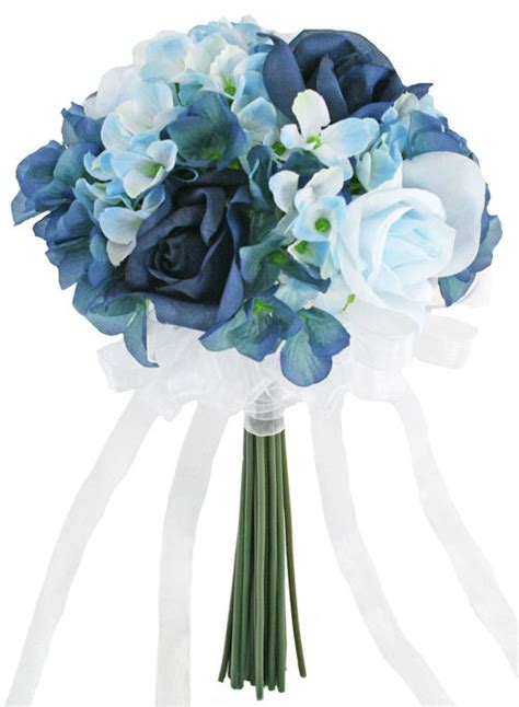 Wedding Bouquet Navy Blue by Hydrangea Navy Light Blue Tie Small Silk