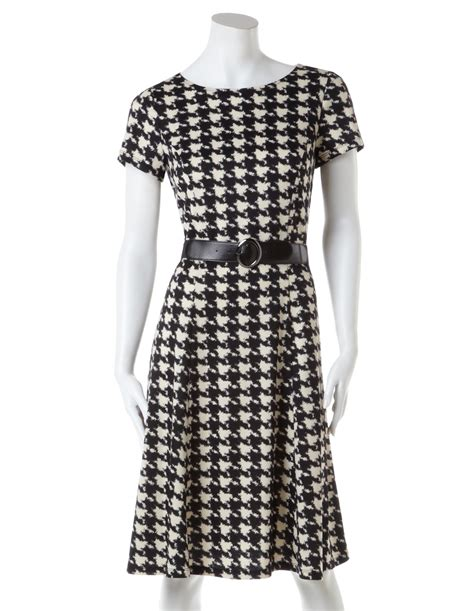houndstooth fit and flare dress with belt cleo