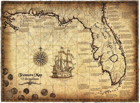 maps special edition 1783708042 treasure map of the southeast limited edition 16 x