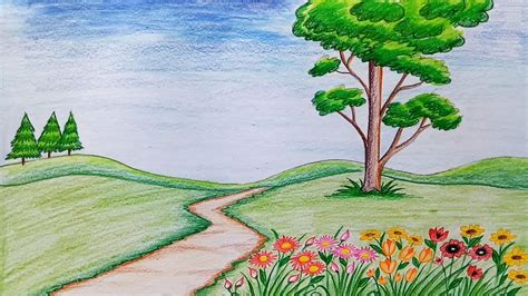 easy flower garden how to draw scenery of flower garden step by step