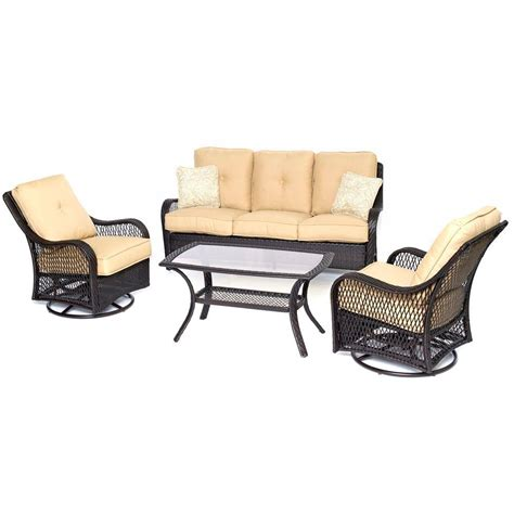 all weather wicker deep seating cushion outdoor recliner hanover orleans brown 4 piece all weather wicker patio
