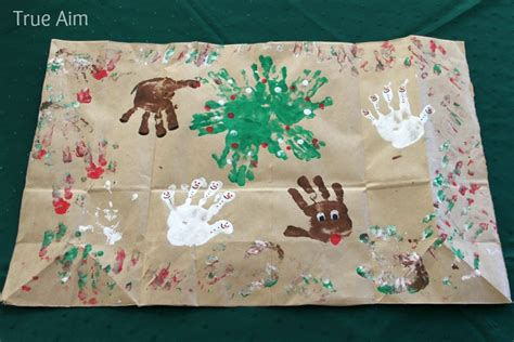 Make My Own Wrapping Paper - handprint wrapping paper true aim