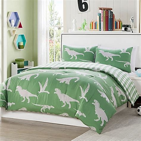 green full comforter set kids bedding sets gt lala bash saurs 3 piece reversible