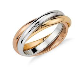 trio rolling ring in 18k tri color gold blue nile