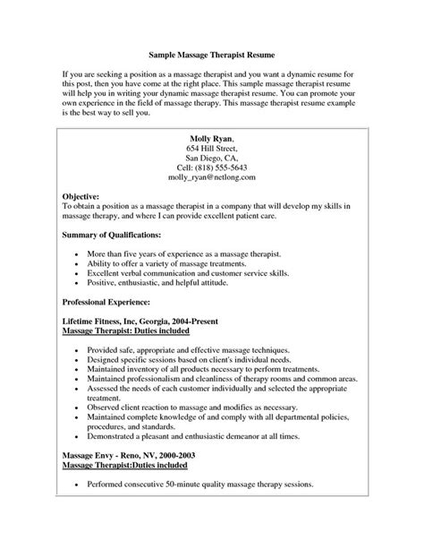 massage therapy resume the best letter sle