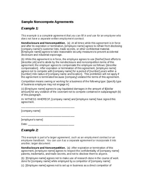 employee non compete agreement template sle non compete agreement hashdoc