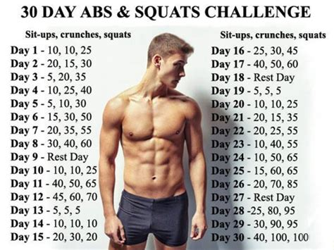 30 day squat and abs challenge 30 day abs squats challenge healthy fitness