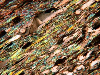 muscovite under thin section thin section of muscovite defining a strong schistosity