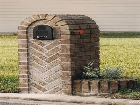 brick l post designs custom herringbone brick mailbox designs mailbox post