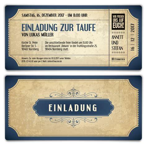 Einladungskarten Hochzeit Blau by Taufe Einladungskarten Vintage Eintrittskarten In Blau