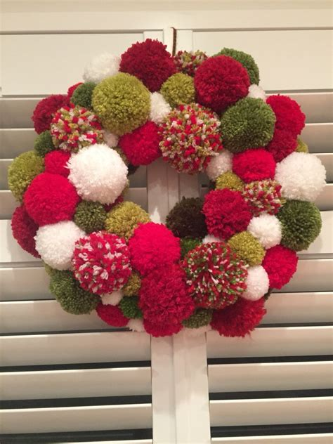 pom pom wreath pom poms ll pinterest pom pom wreath wreaths  christmas wreaths