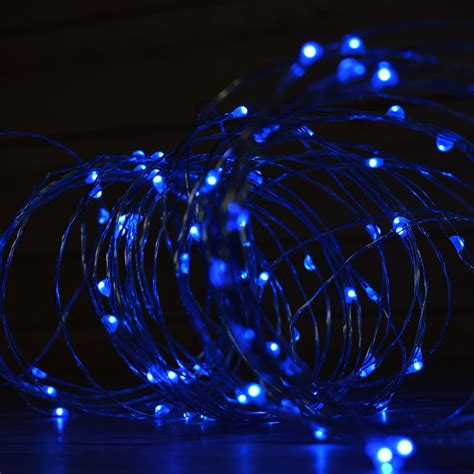 100 Blue Led Fairy Wire Waterproof String Lights 33ft Ac Blue String Lights
