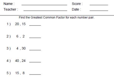 Greatest Common Factor Worksheets by Greatest Common Factor And Least Common Worksheet