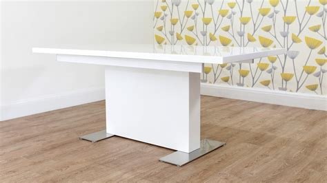 White Gloss Extendable Dining Table Contemporary Rectangular White Gloss Extending Dining Table