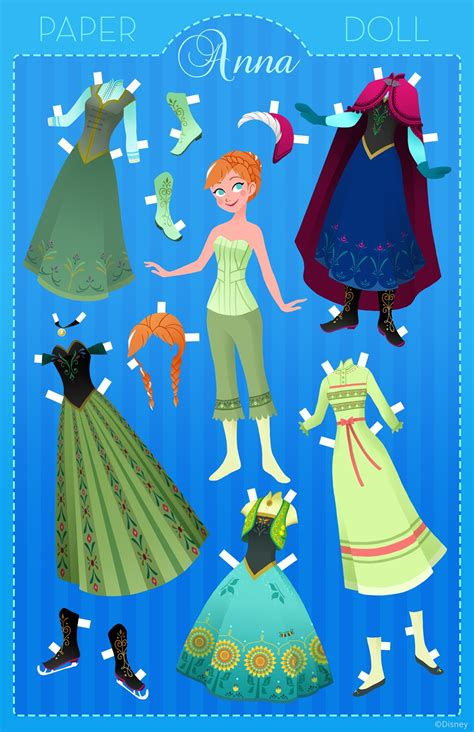 printable frozen paper dolls anna papercraft disney style anna and dolls