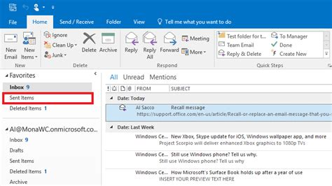 Office 365 Outlook Recall Message How To Recall A Sent Email Message In Outlook Windows