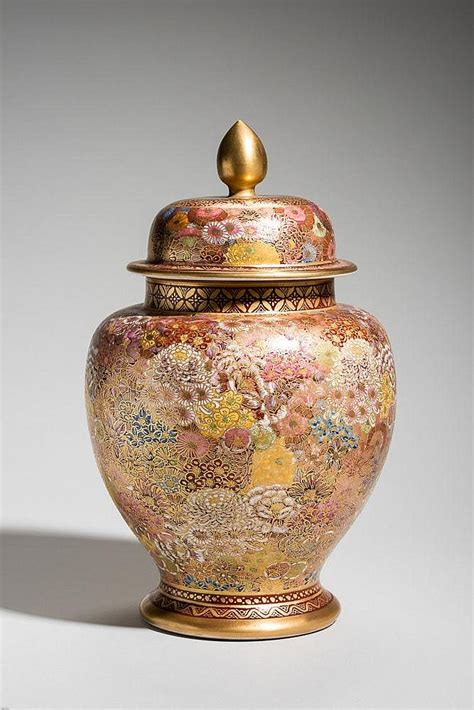 Vase With Lid by Shozan Vase With Lid And Lotus Bud