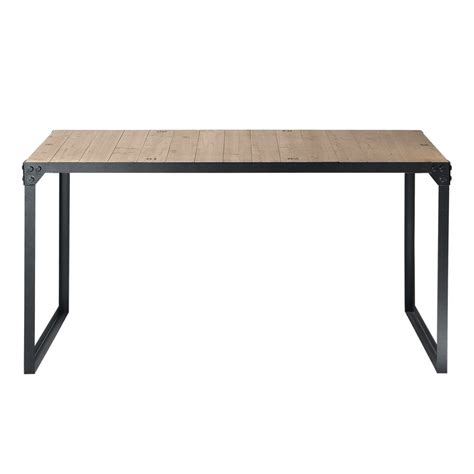 Wood And Metal Dining Tables Wood And Metal Industrial Dining Table W 140cm Docks Maisons Du Monde