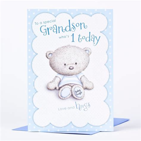 Birthday Card For Grandson 1st Birthday Hugs 1st Birthday Card To A Special Grandson
