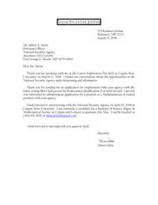 Cover Letter Career Fair by Brilliant Sles Of Thank You Letters After