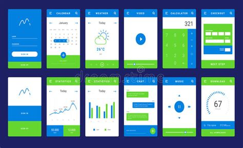 mobile app layout sles ui ux and gui template layout for mobile apps stock