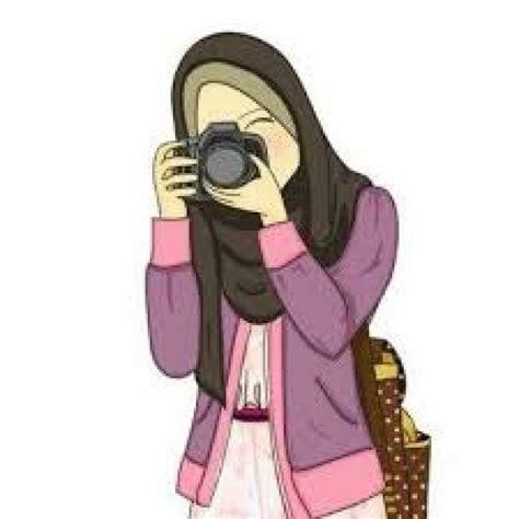foto kartun hijab bertopi gambar islami
