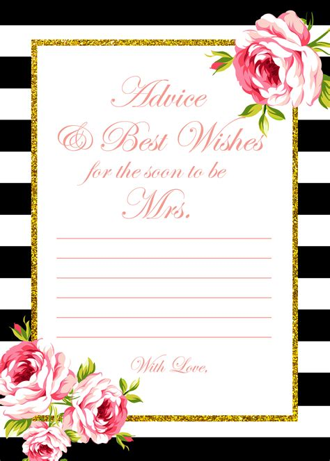 printable bridal shower for free free gold black stripes bridal shower bridal