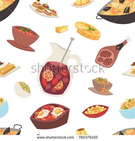meal pattern in spanish spanish cuisine stock images royalty free images