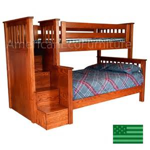 Amish morgan bunk bed with steps in solid wood usa made children s