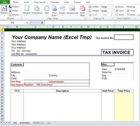 blank tax invoice template free excel tmp