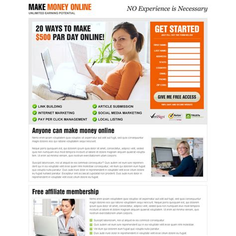 Make Money Online Squeeze Page - money online landing page design templates to earn money online