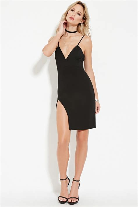 Slit Side Bodycon Dress forever 21 high slit bodycon dress in black lyst