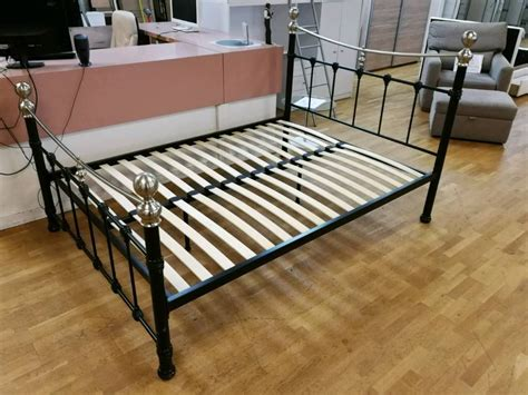 black and silver bedside ls double bed frame with slats idlelife org