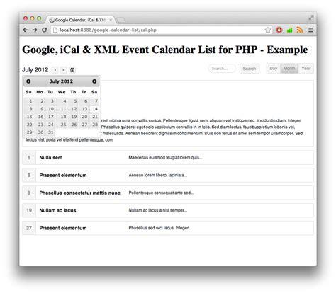 google calendar date format php google ical xml event list calendar for php by rikdevos