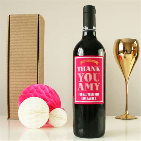 thank you letter wine gift personalised thank you wine gift by bottle bazaar
