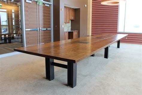 made reclaimed oak custom conference table by