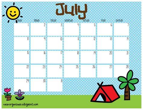 Calendario Julio 2012 Caos Organizado Calendario Imprimible Julio 2012