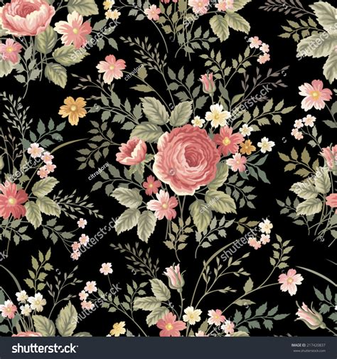 flower pattern on black background seamless floral pattern with roses on black background