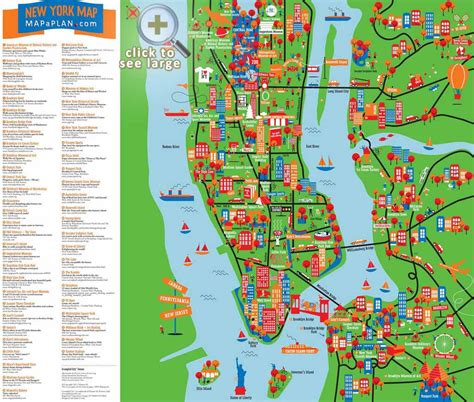 printable new york map new york city most popular attractions map throughout of