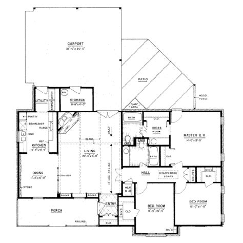 Country Style House Plan 3 Beds 2 Baths 1400 Sq Ft Plan 1400 Square 3 Bedroom House Plans