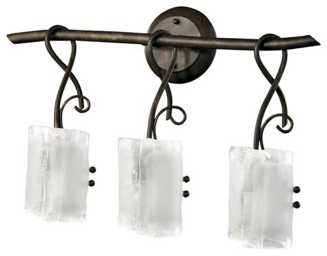 Somerset Wrought Iron Organic Sculpted 3 Light Vanity Wrought Iron Bathroom Lighting