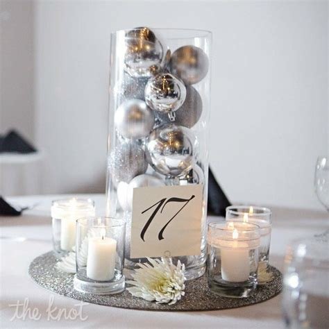 holiday ornament reception centerpieces