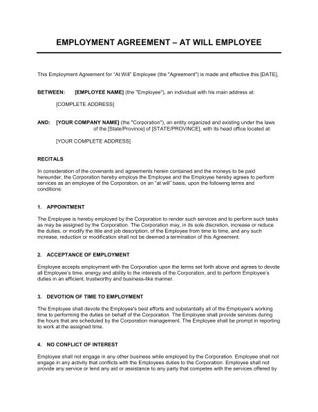 employment agreement template peerpex