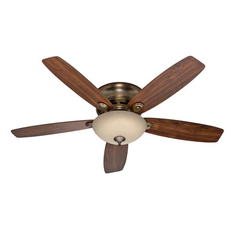 low profile ceiling fan no light shop hunter 52 in low profile iv plus led brushed bronze