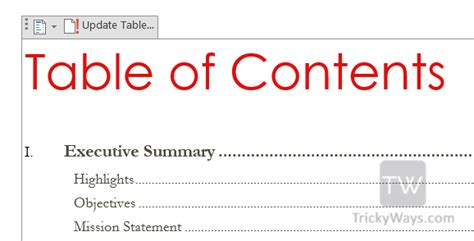 how to create table of contents in word 2013 toc office