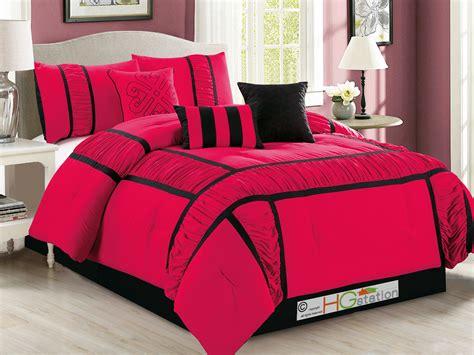 hot pink comforter set queen 7 pc gabbi ruffled ruched patchwork striped comforter set