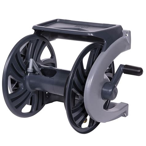 ames grey poly wall mount hose reel  ft hose