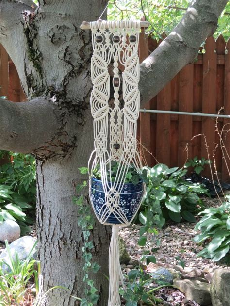Macrame Pot Holder Pattern - macrame plant holder large white macrame wall plant