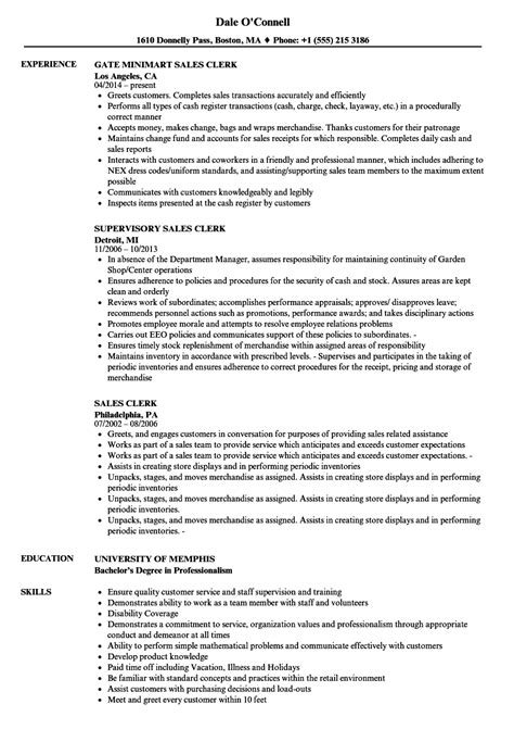 Resume Sle Sales Clerk by Sle Clerk Resume 28 Images Sales Clerk Resume Sles